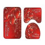 Bureze Juego de 3 Alfombrillas de baño de Navidad 3D, Antideslizantes, absorbentes de Agua, alfombras Antideslizantes para Inodoro, decoración de Navidad