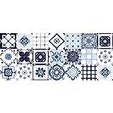 E EVENTUAL – Alfombra Vinílica Azulejos – Moqueta vinílica decoración PVC Flexible Antideslizante– Suelo vinílico Impreso Lavable – Alfombra de Vinilo PVC - Decoración Hogar Vintage (Azul, 180x75cm)