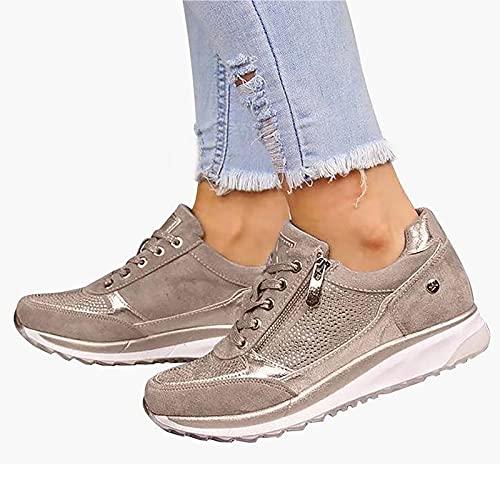 BTKD Sandalias de Vestir Zapatillas Deportivas de Mujer Moda Cremallera Cordones Zapatillas de Running Fitness Sneakers Casual Zapatos para Caminar,Oro,40