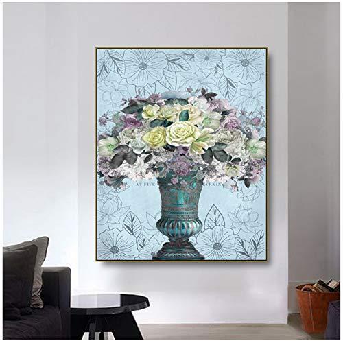 DNJKSA Blumenstrauß in Einer Vase Gemalter Stil HD-Drucke Kunstplakat Bild Leinwand Kunst Malerei Wanddekoration Moderne Wohnkultur -24x32 IN No Frame