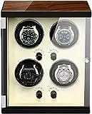 KANGNING Reloj automático Bander Winder 4 Configuración controlada Independiente Almohada de Reloj Silent Motor Ajustable para la mayoría de los Relojes Watch Winder-Blanco Well