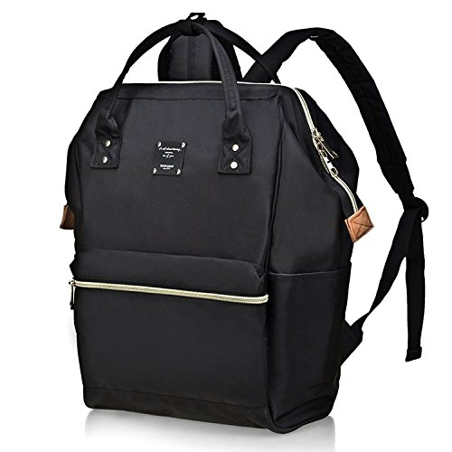 Bebamour Casual College Backpack Lightweight Travel Wide Open Back to School Backpack for Women&Men(Black)