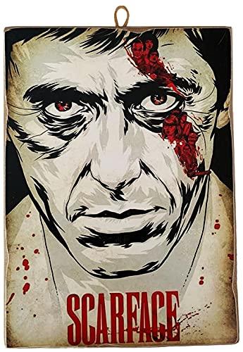 """KUSTOM ART Cuadro de estilo vintage de los famosos """"Al Pacino en Scarface"""" - Impresión sobre madera para decoración de restaurante y pizzería, tractor bar, hotel, locanda"""
