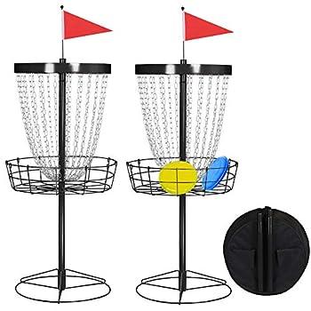 Yaheetech 2pcs 24 Chain Portable Disc Golf Basket Target Heavy Duty Frisbee Goal Practice Target Black