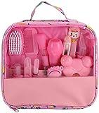 13-teiliges Baby Pflege Produkte Neugeborenes Baby Nagel Haar Gesundheitspflege Thermometer Pflegenbürsten Ausrüstung Baby Pflegeset (Pink)