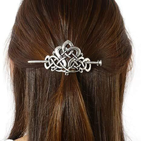 Viking Celtic Hair Clips Hairpin-Viking Hair Sticks Ladies Hair Accessories Triangle Clips for Long Hair Slide Pin Irish Antique Silver Hairstick Celtic Knot Viking Jewelry Hair Clip Men Gift (No.C2)