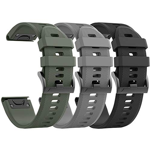 ANCOOL Compatible with Fenix 5 Bands Easy Fit Soft Silicone Watch Bands Replacement for Garmin Fenix 6/Forerunner 945/Fenix 5 Plus/Approach S62/Approach S60 Smartwatches (Black, Grey, Olive Green)