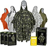 Emergency Rain Ponchos (3-Pack), Reusable Mylar Poncho for Men, Women, Kids, Adults + Emergency Gold Thermal Blanket for Camping, Hiking, & Outdoors (Woodland Military Camouflage)