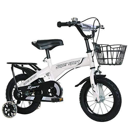Bicicleta para niños AYES 12/14/16/18 pulgadas 2-9 años niños bicicleta con ruedas de entrenamiento para niños y niñas (asiento trasero blanco, 18 pulgadas)
