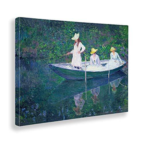 Giallobus - Cuadro - Claude Monet - Pesca en Barco - Estampado en Lienzo - Listo para Colgar - Varios tamanos - 70x50 cm