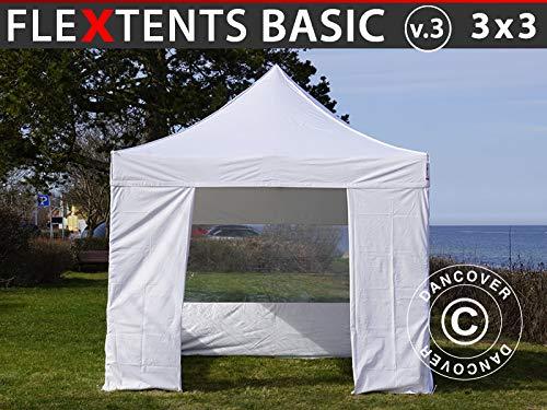 Dancover Faltzelt Faltpavillon Wasserdicht FleXtents Basic v.3, 3x3m Weiß, mit 4 Seitenwänden