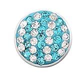 ANDANTE Brokat Chunk Click-Button Bottone a Pressione con Pietre di Vetro piombato Che brillano (Blu Ciano-Bianco) per bracciali Chunk, Anelli Chunk e Altri Accessori Chunk