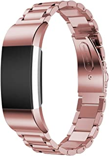 Stainless Steel Watch Band Strap Bracelet for Fitbit Charge 2 with Resize Tool -Rose Pink