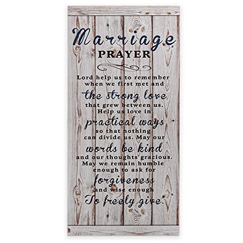 Lynicon 7'x16' Marriage Prayer Plaque Rustic Wood Sign, Lord Help Us to Remember When We First Met, Unique Wedding Gifts