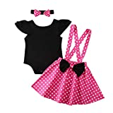 Baby Girl Ruffle Romper Tops Polka Dot Dress Suspender Tutu Skirt Bow Knot Headband 3Pcs Toddler 1st Birthday Outfit Pink 18-24 Months
