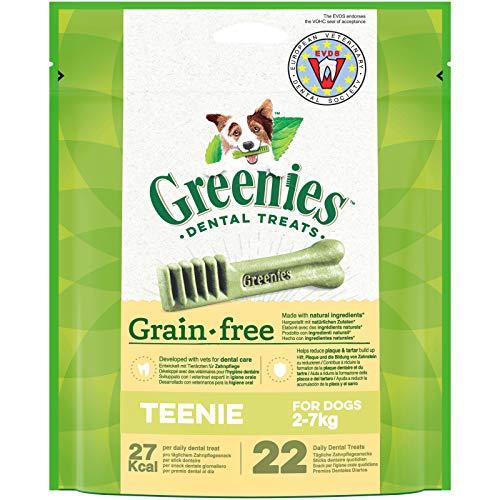 GREENIES Grain Free Teenie – Friandise à mâcher pour très petit chien – 44 sticks pour une bonne hygiène bucco-dentaire sans céréales