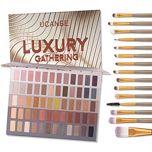 UCANBE 60 Colors Naked Eyeshadow Palette + 15Pcs Makeup Brush Set, All in One Nude Neutral Smokey Makeup Pallet with Brushes Tools, Pigmented Warm Matte Shimmer Powder Eye Shadows Cosmetic Beauty Kit
