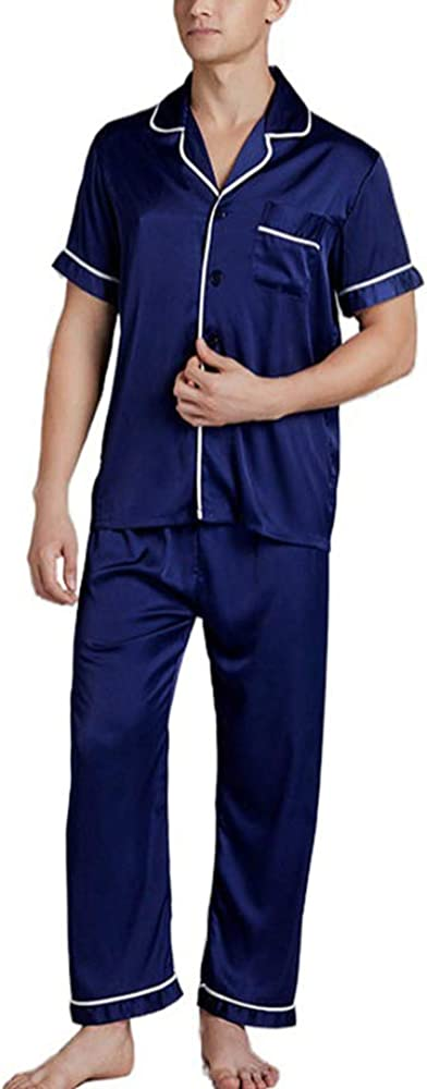 nuoshang Men's Satin 2 Pieces Short Sleeve Sleepwear Pajamas Pants Set Loungewear