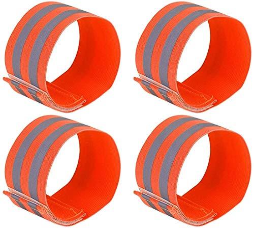 JUZZQ 4 Pcs Bofetadas Tobillos Ciclismo Montado Reflector Adhesivo, Ideal para Corredores, Caminantes, Ciclistas, Caminar, Montar Una Motocicleta O Cualquier Actividad Al Aire Libre (Color : Orange)
