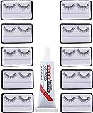 Spanking false eyelashes 10 pcs and 1 pcs eyelash glue (Eye combo)