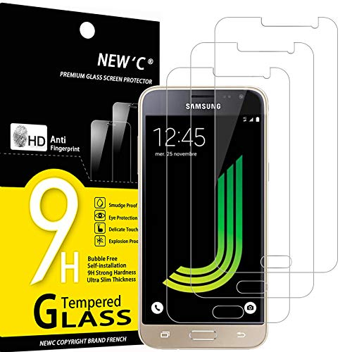 NEW'C 3 Stück, Schutzfolie Panzerglas für Samsung Galaxy J3 2016, Frei von Kratzern, 9H Festigkeit, HD Bildschirmschutzfolie, 0.33mm Ultra-klar, Ultrawiderstandsfähig