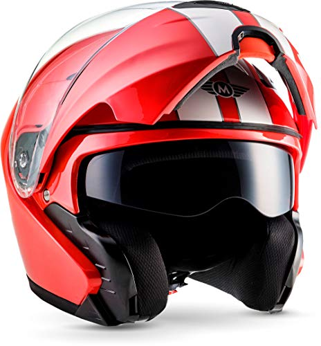 "Moto Helmets® F19 ""Racing Red"" · Motorrad-Helm · Klapp-Helm Modular-Helm Flip-up Integral-Helm Motorrad-Helm Roller-Helm Cruiser · ECE 22.05 Sonnenvisier Schnellverschluss Tasche M (57-58cm)"