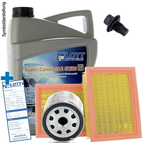 Ölwechsel Set Inspektion Servicekit 5L Lott 5W-30 Motoröl + Ölfilter + Luftfilter + Öl Ablassschraube Verschlussschraube