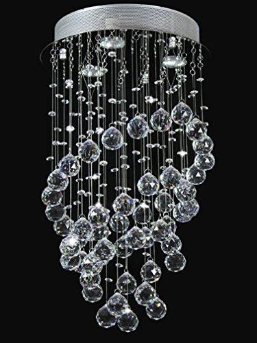 A1A9 Moderne Kristallleuchter, K9 Kristall Spirale Tröpfchen Deckenleuchte, Chrom Unterputz LED LED Pendelleuchte für Wohnzimmer Schlafzimmer Esszimmer, Flur, Treppe, Größe: D35cm H61cm