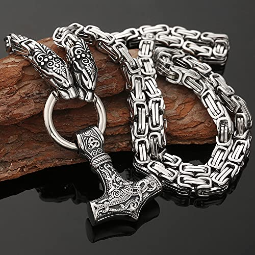 Serired Collar con Colgante Martillo Vikingo Thor, Collar Cadena Rey Dragón Nórdico Acero Inoxidable, Heavy Punk Mjolnir Necklae para Hombre,Plata,70cm