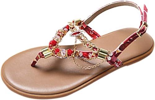 L-X Tongs pour Femmes Tongs D'été Décontracté Walking Herringbone Herringbone Ankle Strap Vacation Seaside Sandals Style National Chaussures de Plage, Rouge, 39 UE  garantie de crédit