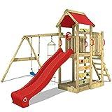 WICKEY Aire de jeux Portique bois MultiFlyer avec balançoire et toboggan rouge, Maison enfant exterieur avec bac à sable, échelle d'escalade & accessoires de jeux