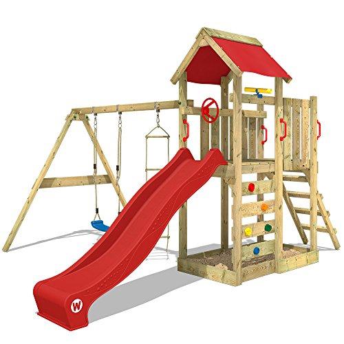 WICKEY Aire de jeux MultiFlyer Portique de jeux en bois Tour d'escalade avec balançoire, toboggan rouge, mur d'escalade, échelle de cordes, bac à sable + Accessoires