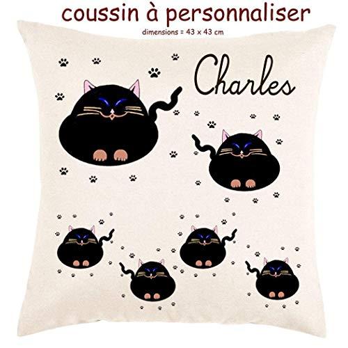 Coussin avec sa Housse Toucher très Doux Chat Personnalisable avec un Prénom Exemple Charles