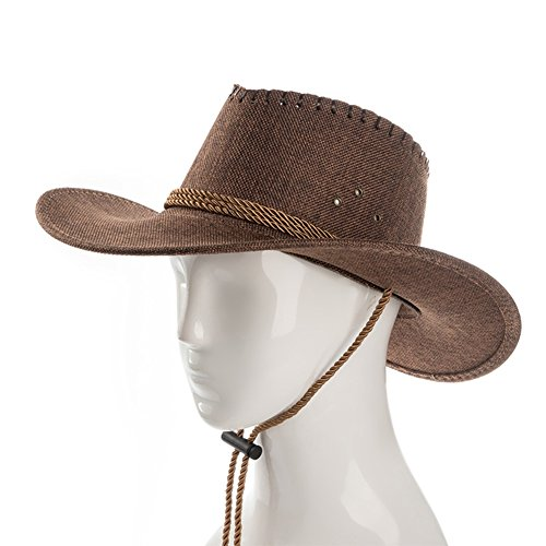 Goquik Cowboy Zonnehoed, heren, zomer, bergbeklimmen, koeler, hoed, plooien, vizierhoed, grote eaves, strandhoed, met kinband