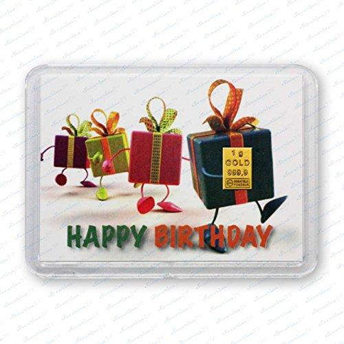 Goldbarren 1g 1 Gramm Motivbox Geschenk Platinbarren Silberbarren Weihnachten Gold Platin Silber Barren + 1x Echtheitszertifikat von Securina24® (Happy Birthday Geschenke - Goldbarren)
