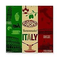 イタリア旅行ゴミと国家 Italy 木製 額縁 フォトフレーム 壁掛け 木製 横縦兼用 絵を含む 40×40cm