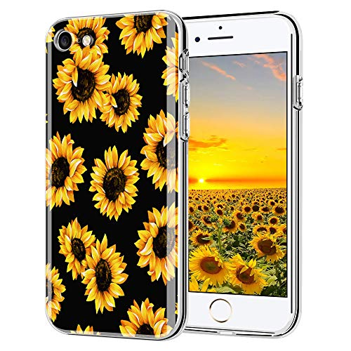 LYWHL iPhone 6s case, iPhone 6 case, AIKIN Simply Designed Flower Pattern Case Soft TPU Flexible Case Shockproof Protective Cute Case for iPhone 6, iPhone 6s 4.7 Inch (Sunflower + Black)