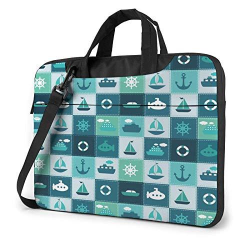 Laptop Messenger Bolsa para computadora portátil Azul Marino Anclas Náutica Navegación Bolso de Hombro Maletín Funda para computadora portátil de Oficina Satchel Tablet para Hombres Mujeres
