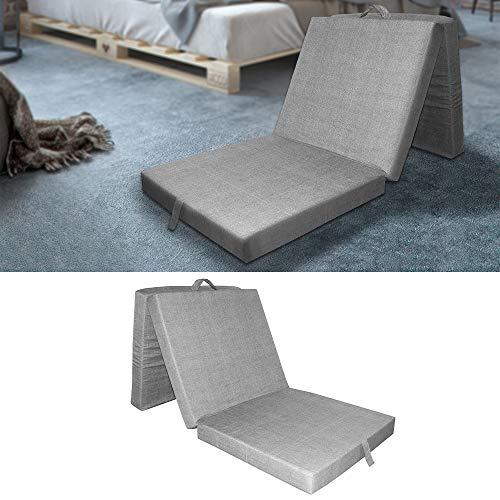 VitaliSpa® Faltmatratze Klappmatratze Gästebett Liege Bett Matratze Reisebett 70x190x10 (grau)