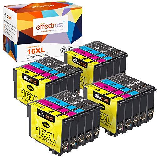 effectrust Kompatibel Tintenpatrone als Ersatz für Epson 16XL für Workforce WF-2760 WF-2630 WF-2510 WF-2750 WF-2540 WF-2660 WF-2650 WF-2530 WF-2510 WF-2010 (8 Schwarz,4 Cyan,4 Magenta,4 Gelb)