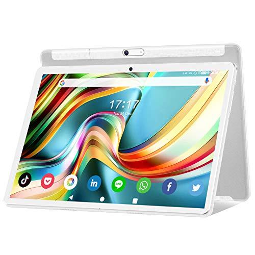 タブレット Android 10.0 高品質8コアCPU 10.1インチタブレット Wi-Fi接続モードROM 32GB、microカードで128GB拡張可能 1280*800フルHDIPSディスプレデュアルカメラ5MP+13MP GPS/FM/Bluetooth/デュアルスピーカー機能搭載 軽量、仕事娯楽勉強用 子供や老人にも向き日本語説明書 白