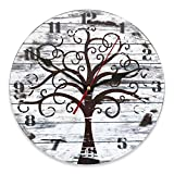 Reloj de pared vintage de MDF de 30 cm de diámetro, con diseño de árbol de la vida, estilo shabby chic para decorar la...