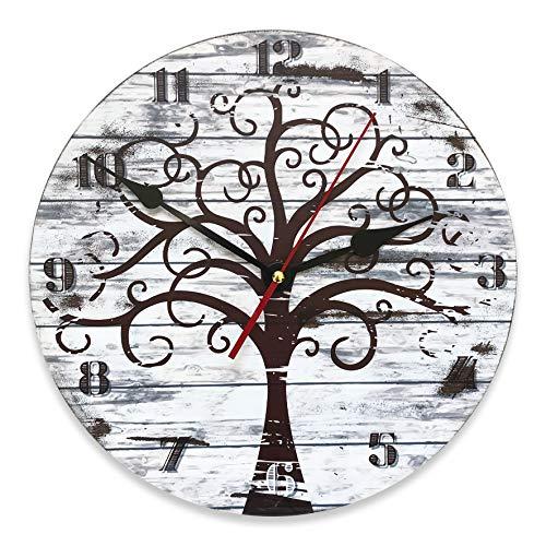 Reloj de pared vintage de MDF de 30 cm de diámetro, con diseño de árbol de la vida, estilo shabby chic para decorar la casa de forma original, ideal para todos los ambientes de la casa.