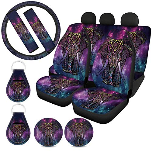 ZFRXIGN Elephant Galaxy Print Car Seat Covers Full Set with Steering Wheel Cover Seat Belt Pads for Women SUV, Trunk Front Rear Seat Cover Keyring Coasters 11 Pcs Boho Tribal Etyhnic Style