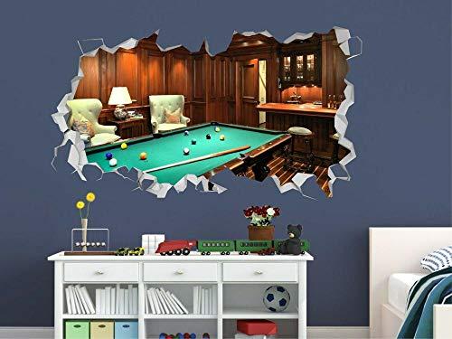 Wandtattoo Billiards smashed with ball game wall decal 3d art sticker vinyl art