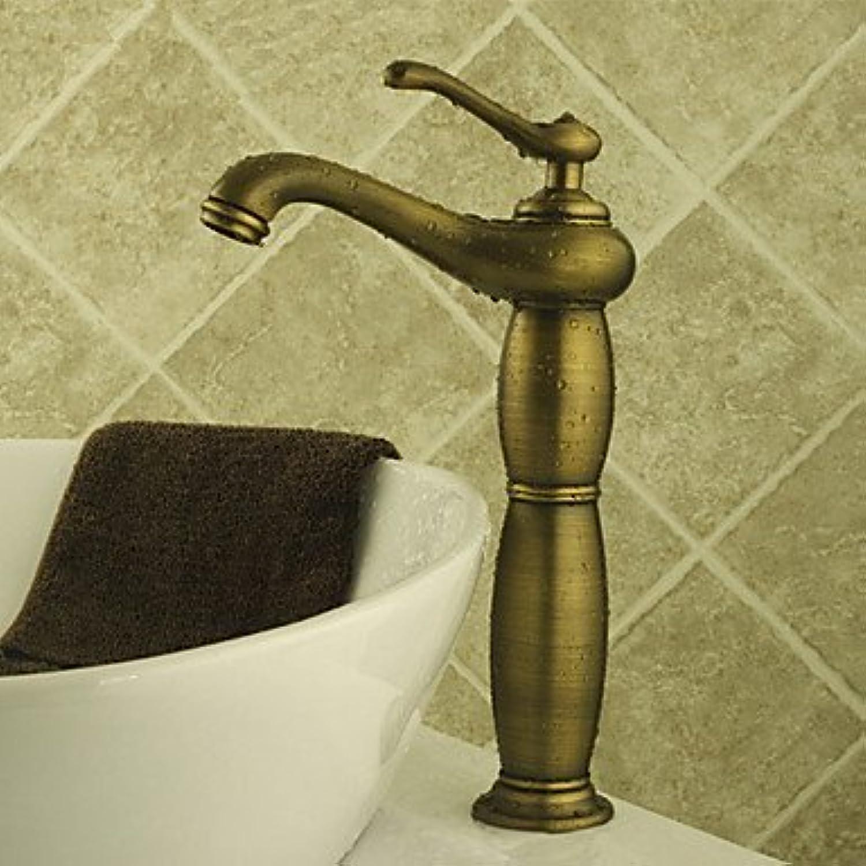 WENYAO Antikes Gef Keramikventil Einhand EIN Loch mit Antik Messing Waschbecken Wasserhahn