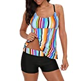 Zando Swimsuits for Women Two Piece Swimsuits Modest Tankini Top with Boyshort Bathing Suits Athletic Bathing Suit Tummy Control Swimwear Slimming Swimming Suit for Women Colorful Stripe XL (10-12)