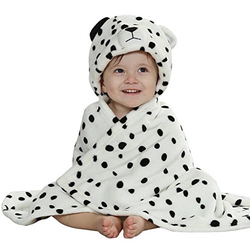 KVbaby zachte flanel badjas babydeken met diermotief en capuchon, kleine kinderen handdoek-omhang warm capuchon handdoek luipaard-wit