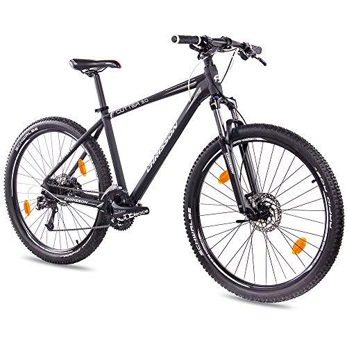 Chrisson Hardtail Mountainbike, 27,5 inch, cutter 3.0, zwart grijs, hardtail mountainbike met 27 versnellingen, Shimano Deore-derailleur, mountainbike voor heren en dames, met veervork