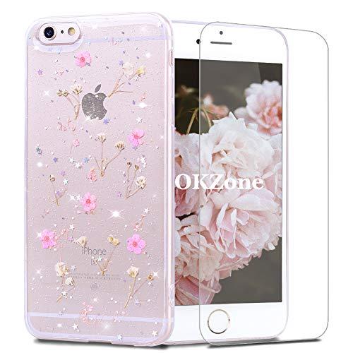 OKZoneCoque iPhone 6S / 6 Plus (5,5 Pouces) [avecFilmdeProtectionécranHD],[RéelSéchéesFloral]FaitàlaMainRéelSéchéesFloralClairDouxCaoutchoucHousseEtuideProtectionpour (Rose)